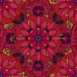 Vector illustration. On red, black and pink colors. Abstract flower seamless pattern background. Cute Floral pattern in the small flower. Vector pattern.