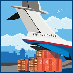 Vector illustration on the theme of air cargo. Loading of containers on board the cargo plane