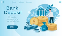vector illustration on the theme of bank deposits, financial services. a man carries money to the bank, cash, coins, credit cards, inscription bank deposit. banner for websites, magazines, app