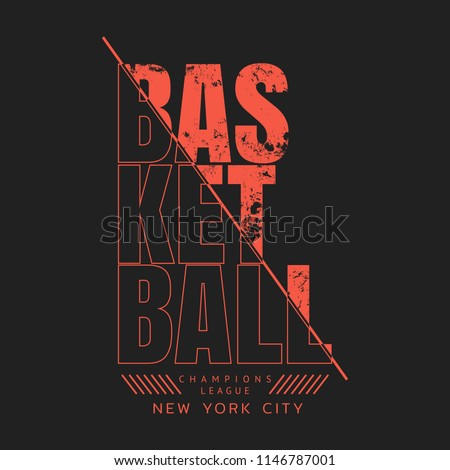 Vector illustration on the theme of basketball in New York City.  Sport typography, t-shirt graphics, poster, banner, flyer, print and postcard
