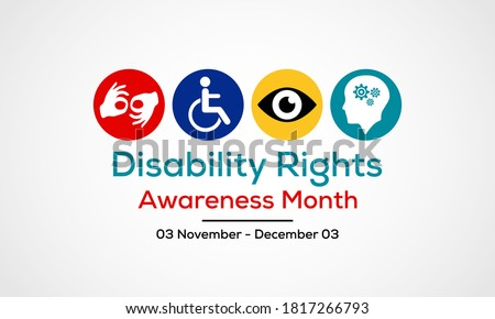 Vector illustration on the theme of Disability rights awareness month observed each year from November 3rd to December 3rd.