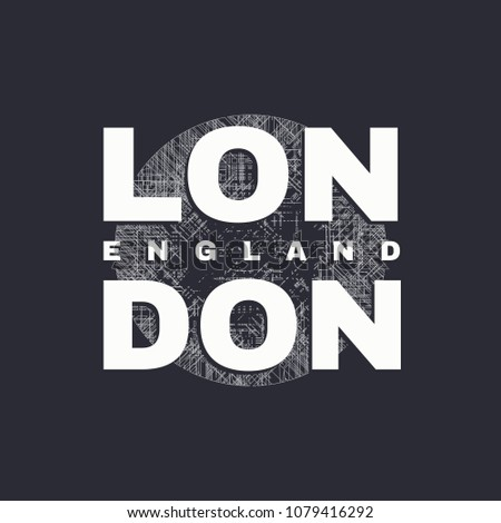 Vector illustration on the theme of London, England. Typography, t-shirt graphics, poster, print, banner, flyer, postcard