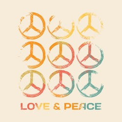 Vector illustration on the theme of love and peace. The peace symbol. Typography, print, t-shirt graphics, poster, banner, flyer, postcard