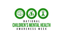 Vector illustration on the theme of National Children's Mental health awareness Week observed in Month of February, seeks to raise awareness about the importance of children's mental health.