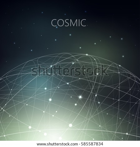 Vector illustration on the theme of physics, atomic nucleus, cosmos, astronomy. The structure of curve intersecting lines in the form of sphere on dark cosmic gradient mesh background.
