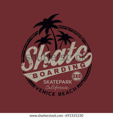 Vector illustration on the theme of skateboarding and skateboard in California, Venice beach. Vintage design. Grunge background. Stamp typography, t-shirt graphics, poster, print, postcard