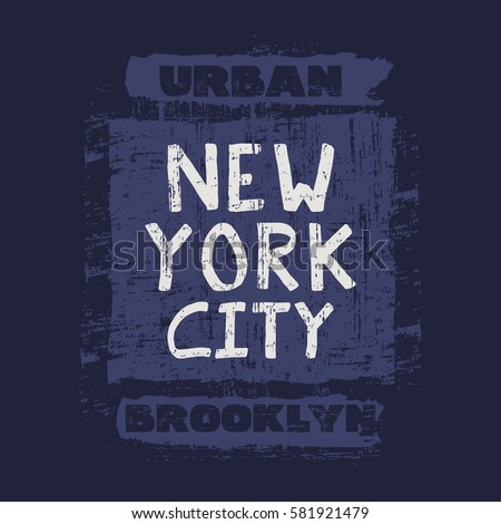 Vector illustration on the theme of skateboarding and skateboard in New York City, Brooklyn. Grunge background. Stamp typography, t-shirt graphics, poster, print, postcard