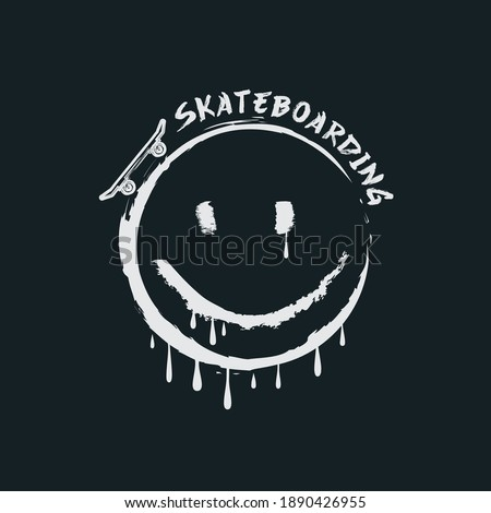 Vector illustration on the theme of skateboarding and skateboard in New York City. Sport typography, t-shirt graphics, poster, print, postcard Stock photo ©