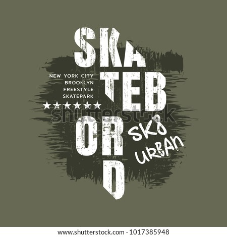 Vector illustration on the theme of skateboarding and skateboard in New York City. Vintage design. Grunge background. Sport typography, t-shirt graphics, poster, print, postcard