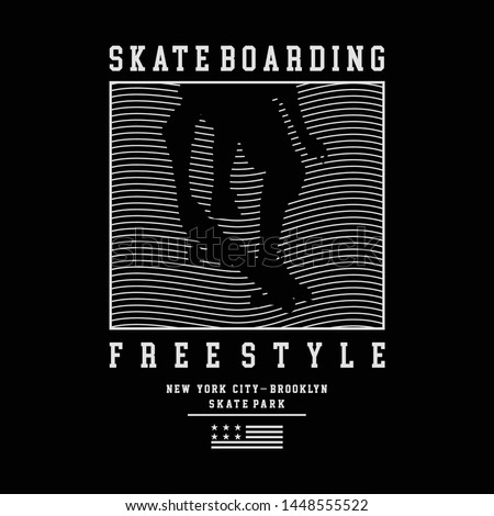 Vector illustration on the theme of skateboarding and skateboard in New York City. Vintage design. Grunge background. Typography, t-shirt graphics, print, poster, banner, flyer, postcard - Vector