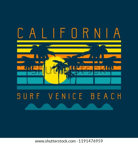 Vector illustration on the theme of surf and surfing in California, Venice beach. Typography, t-shirt graphics, print, poster, banner, flyer, postcard