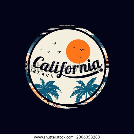Vector illustration on the theme of  surf in California,  Beach. typography, t-shirt graphics, print, poster, banner, flyer, postcard,etc.  Foto stock ©