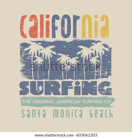 Vector illustration on the theme of surfing and surf in California, Santa Monica beach.  Grunge background. Typography, t-shirt graphics, print, poster, banner, flyer, postcard
