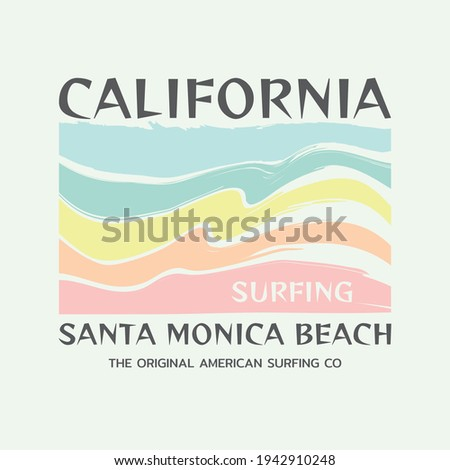 Vector illustration on the theme of surfing and surf in California, Santa Monica Beach. Sport typography, t-shirt graphics, print, poster, banner, flyer, postcard