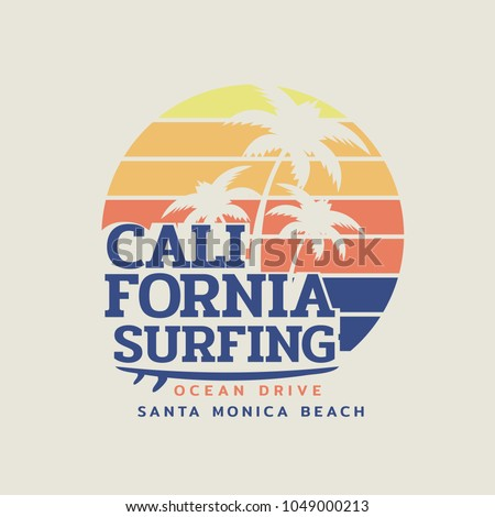 Vector illustration on the theme of surfing and surf in California, Santa Monica beach. Vintage design. Sport typography, t-shirt graphics, print, poster, banner, flyer, postcard