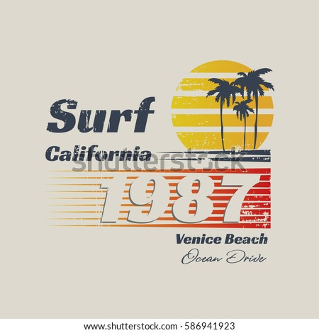 Vector illustration on the theme of surfing and surf in California, Venice beach. Vintage design.  Grunge background.  Number sport typography, t-shirt graphics, print, poster, banner, flyer, postcard