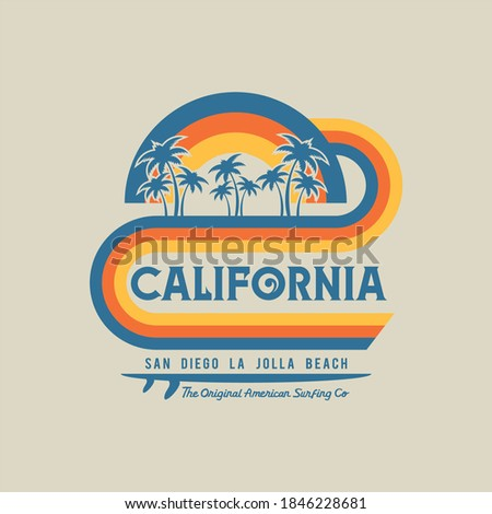Vector illustration on the theme of surfing and surf in California. Vintage design. Sport typography, t-shirt graphics, print, poster, banner, flyer, postcard