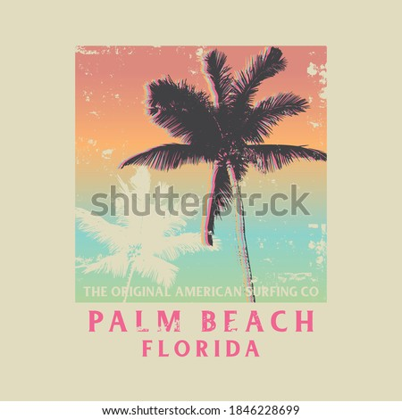 Vector illustration on the theme of surfing and surf in Florida, Palm Beach. Vintage design. Grunge background. Sport typography, t-shirt graphics, print, poster, banner, flyer, postcard