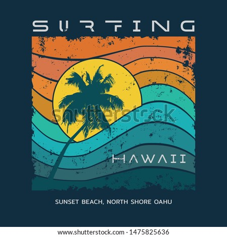 Vector illustration on the theme of surfing and surf in Hawaii. Vintage design. Grunge background.  Sport typography, t-shirt graphics, print, poster, banner, flyer, postcard