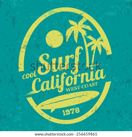 Vector illustration on the theme of surfing in California. west coast, print, vintage illustration, emblem, vector, palm trees, surfer