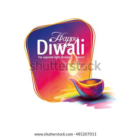Vector illustration on the theme of the traditional celebration of happy diwali. Deepavali light and fire festival. ALSO HAVE VIDEO GRAPHICS #485207011