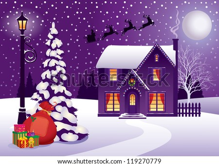 Vector illustration on the theme the Christmas holiday/ Christmas in Village