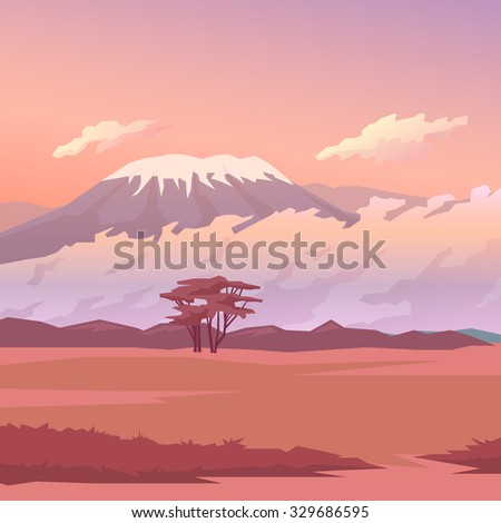 Vector illustration on themes: nature of Africa, safari, morning in Savannah, hunting, camping, trip. African landscape. Modern flat design.