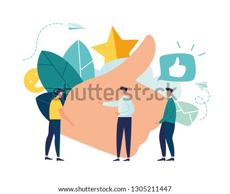 vector illustration on white background. best performance, score five points. people leave reviews and comments that successful work is the highest score, the hand shows the gesture a class - Vector  ストックフォト ©