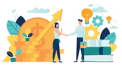 vector illustration on white background. business porters a successful team. The investor holds money in ideas. financing of creative projects. woman and man business handshake vector