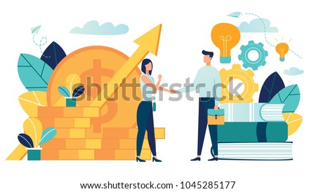 vector illustration on white background. business porters a successful team. The investor holds money in ideas. financing of creative projects. woman and man business handshake - Shutterstock ID 1045285177