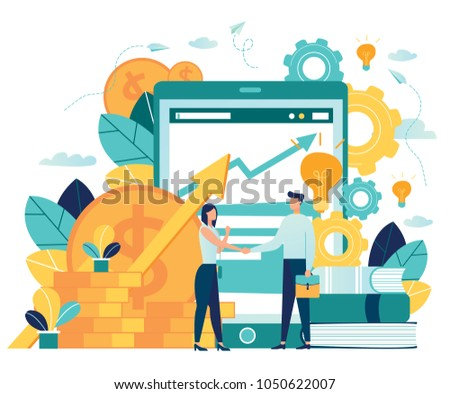 vector illustration on white background. business porters a successful team. The investor holds money in ideas. financing of creative projects. woman and man business handshake