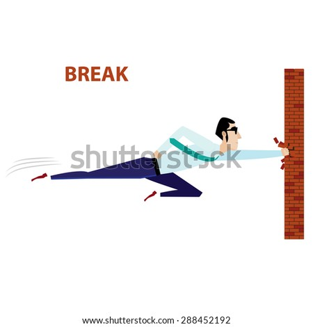 Vector illustration on white background featuring businessman with eyeglasses breaking brick wall