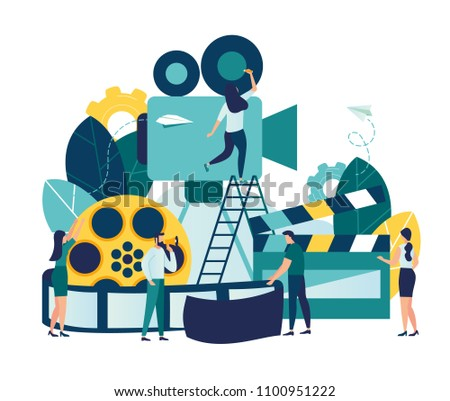 Vector illustration on white background, online cinema, concept of cinematography, little people shoot video