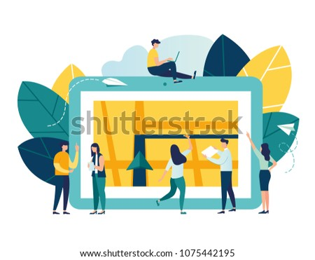 vector illustration on white background, search index on navigation, online map on a tablet, get directions, GPS navigator on a city map