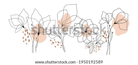 vector illustration one line drawing flowers, petals leaves and flowers, contour drawing, nature and plants, simple drawing of delicate flowers, logo and symbol