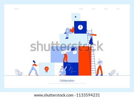 Vector illustration, online assistant at work. Searching for new ideas solutions, working together in the company, brainstorming, collaboration.