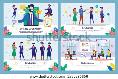 Vector Illustration Online Education, Graduation. Set Student Lecture.  Administration Institution Solemnly Presents Diploma and Medal to Graduate Students. Students Listen to Lecturer.