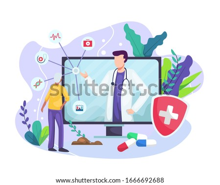 Vector illustration Online medical concept. Medical Consultation by Internet with Doctor. Online Doctor, Telemedicine, Medical Service Online for Patients. Vector illustration in a flat style