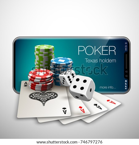 Vector illustration Online Poker casino banner with a mobile Apple iPhone X?, chips playing cards and dice. Luxury Banner Jackpot Online Casino. New model Smartphone advertising poster iPhone X Apple?