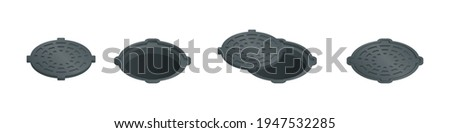 Vector illustration open and closed sewer hatch isolated on white background. Realistic manhole cover icon in flat cartoon style. Well hatch. Open and closed sewer pit with a hatch. Stock photo ©
