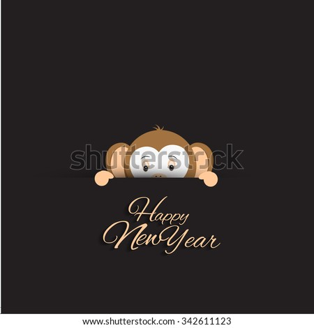 Vector illustration or greeting card for happy new year 2016, year of the monkey
