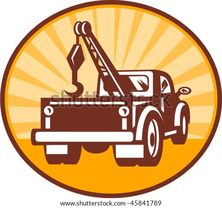vector illustration or icon of a Rear view of a tow or wrecker truck