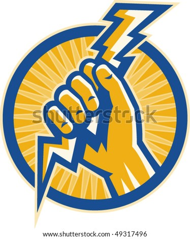 vector illustration or Imagery that shows a Hand hold a lightning bolt of electricity set inside a circle.