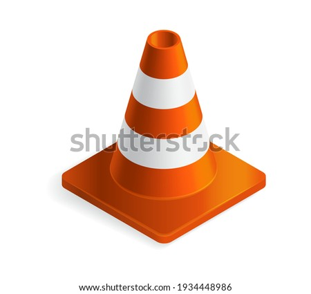 Vector illustration orange plastic traffic cone isolated on white background. Realistic orange road cone with stripes icon in flat cartoon style.