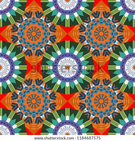 Stock Photo Vector illustration. Ornate seamless texture background. Relief waves of ornamental mosaic tile patterns in blue, orange and green colors. Different mosaic textures.