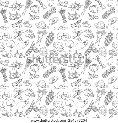 Vector illustration Outline hand drawn seamless  vegetable pattern (flat style, thin  line). Black and white #254878204