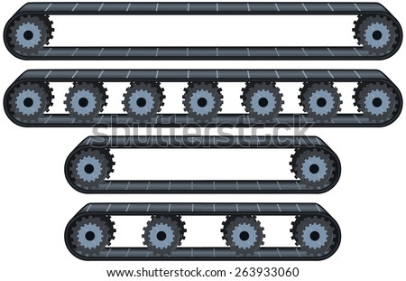 Vector illustration pack of four types of conveyor belt tracks with wheels. Stockfoto ©