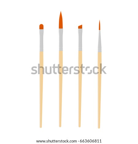 Vector illustration paint brush. Different artist brushes icon set, collection.