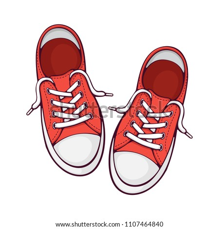 Vector illustration. Pair red textile sneaker with rubber toe and loose lacing. Hand drawn print with contour. Shoes of modern teenagers skaters. Isolated on white background