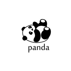 Vector illustration panda bear silhouette. Logo design template.  Panda animal Logotype concept icon.